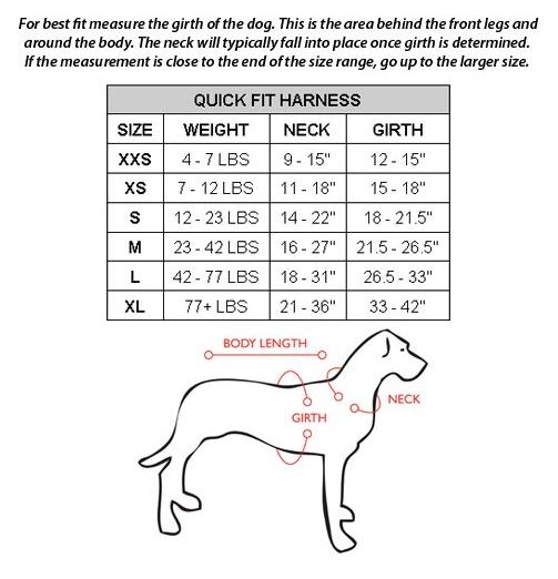 EzyDog Harness - Size Chart